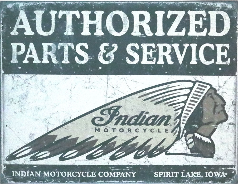 Indian Metallschild Parts&Service