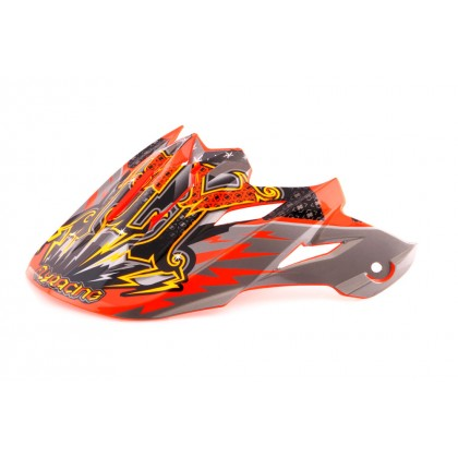 Fly Racing Helmschild Trophy Lite orange-sw-silber