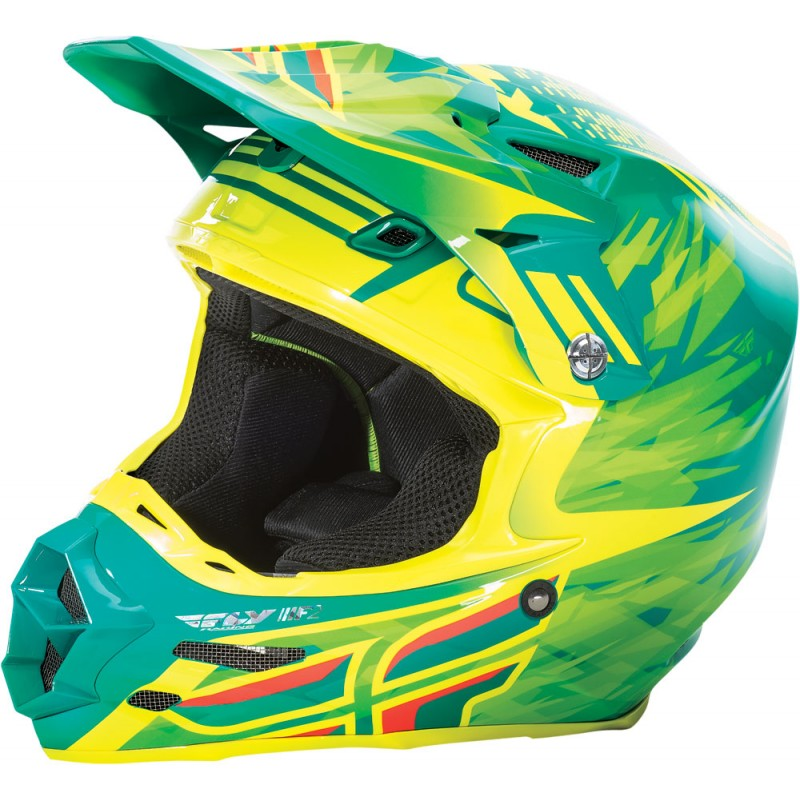 Fly Racing F2 Carbon Helm Short Replica teal-neon