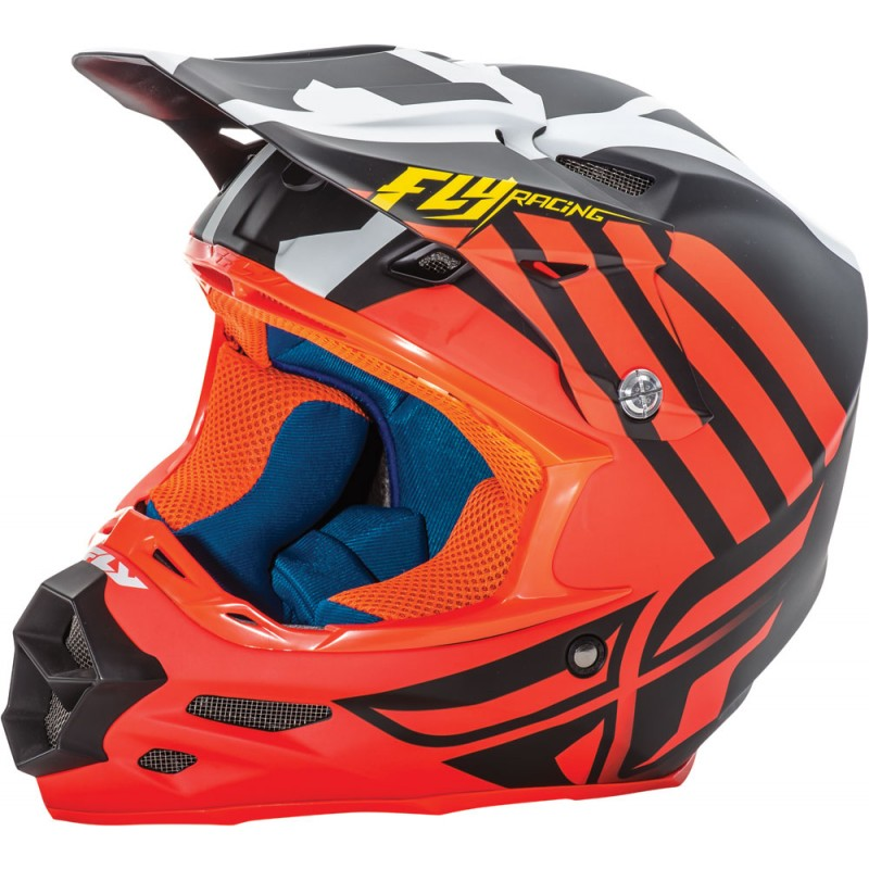 Fly Racing F2 Carbon Helm Zoom matt-orange-schwarz-weiß