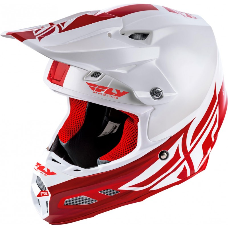Fly Racing Helm F2 Carbon Mips Shield weiß-rot