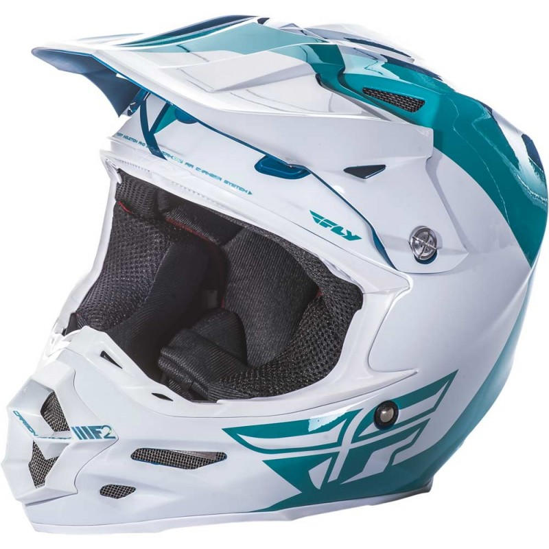 Fly Racing Helm F2 Carbon Pure teal-weiß