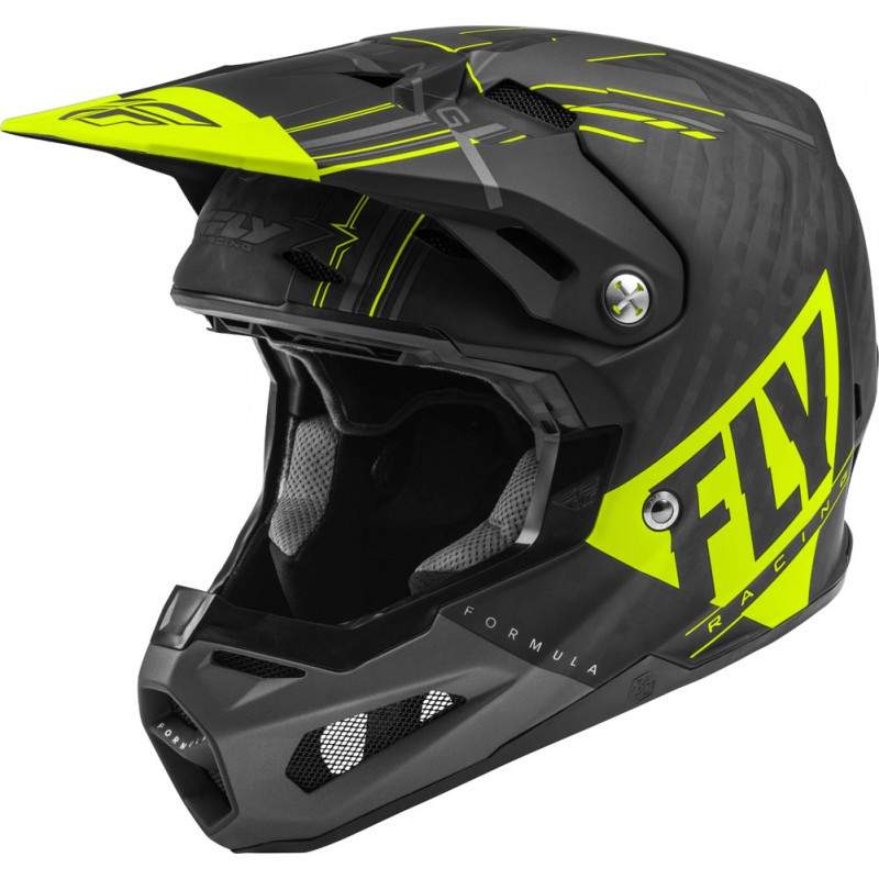 Fly Racing Helm Formula Vector Kids matt-hi-vis-grau-sw