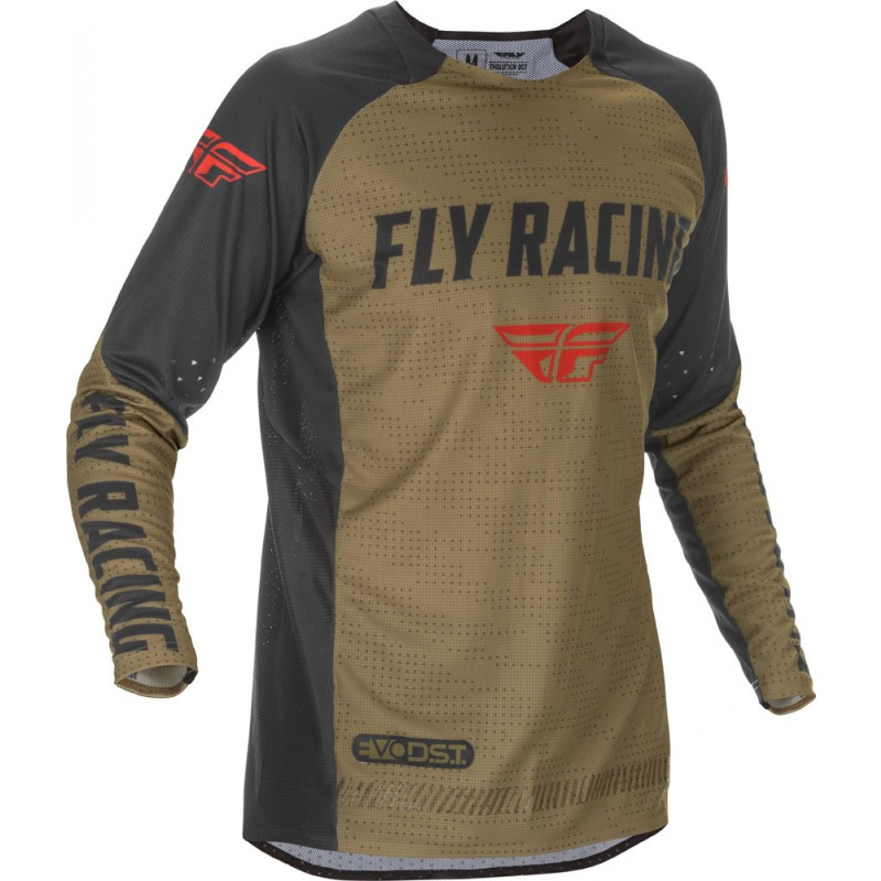 Fly Racing Hemd Evolution DST khaki-schwarz-rot