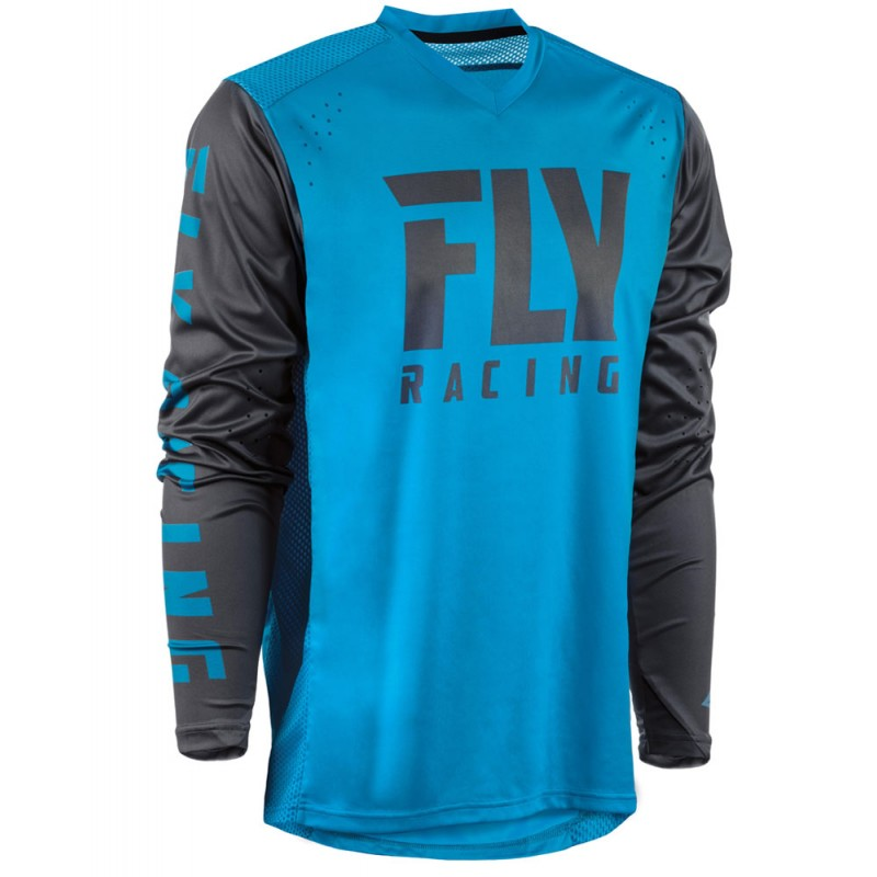 Fly Racing Hemd Radium blau-charcoal-grau