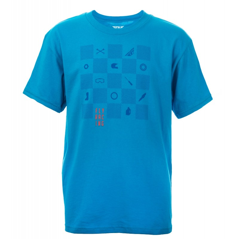 Fly Racing Shirt Checkers Kids türkis