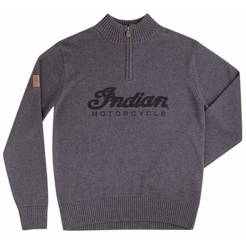 Indian Mens Logo QTR ZIP Knit