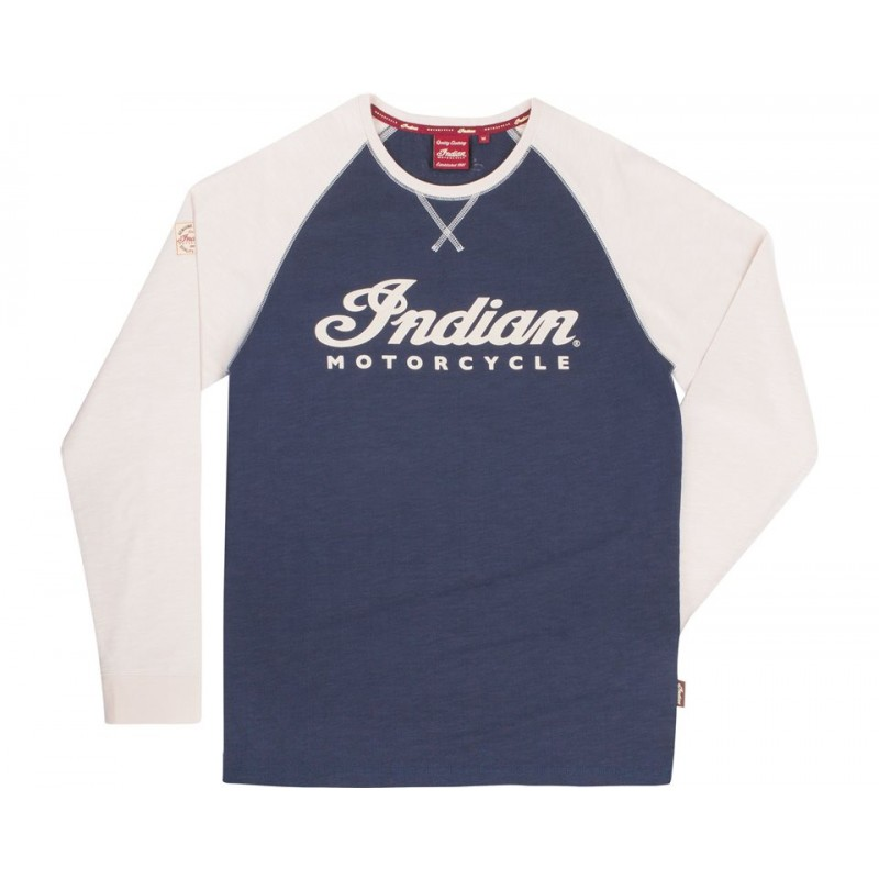 Indian Shirt langarm Race Raglan blau-weiß