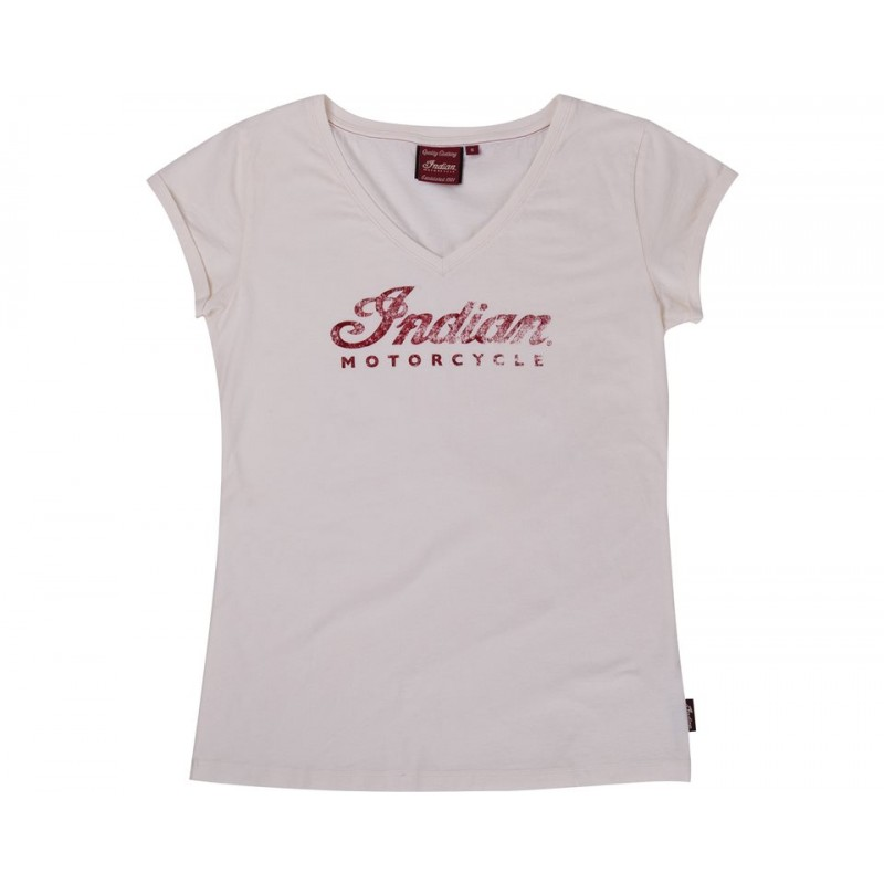 Indian T-Shirt Damen Antique Logo weiß