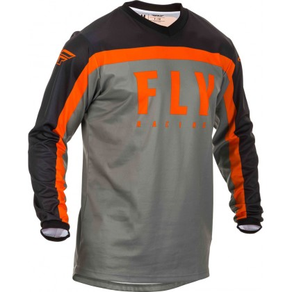 Fly Racing Hemd F-16 Kids grau-schwarz-orange