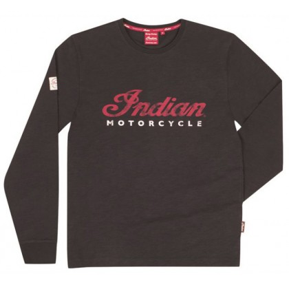 Indian Men Black LS Logo Tee