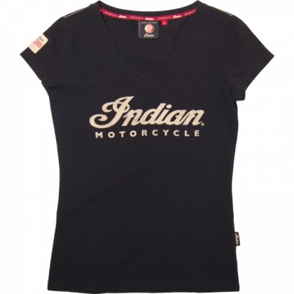 Indian Shirt Damen Logo ecru V-Ausschnitt