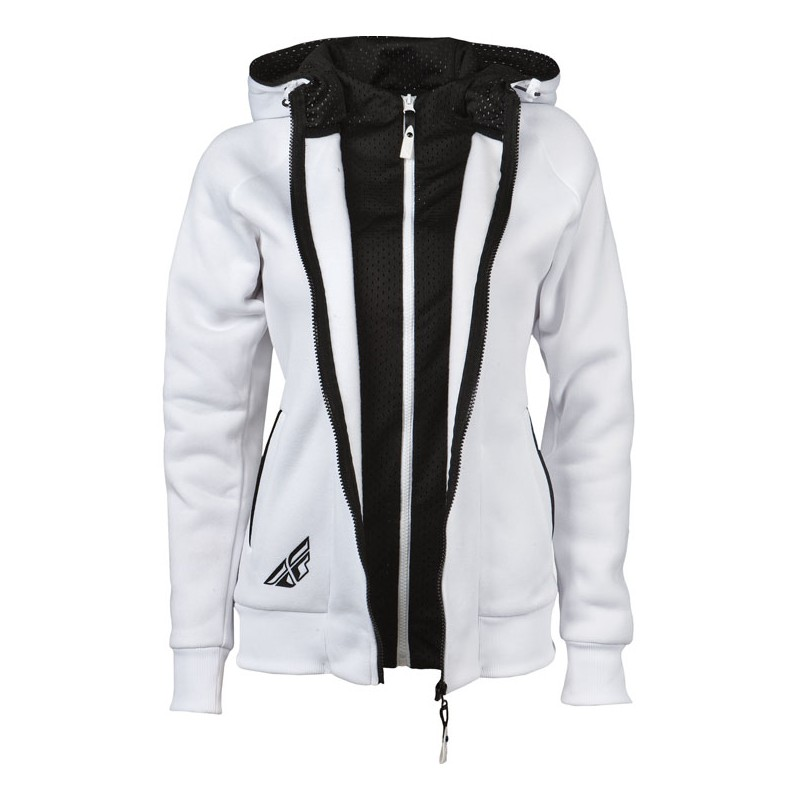 Fly Racing Hoodyjacket Girls Track white-black XXL
